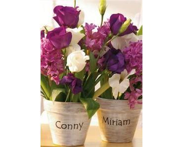Tischkarten selber machen: Blumentöpfe mit Gästenamen