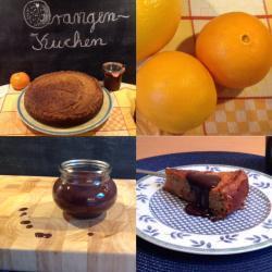 Orange und braun, ein Kuchentraum – oder – Dreamteam: Orangenkuchen mit Schokoladensauce