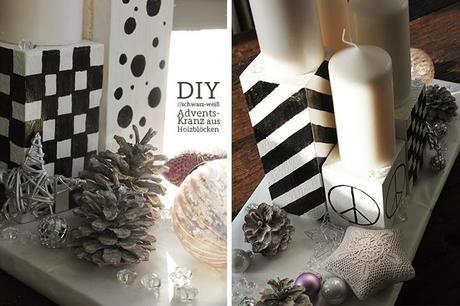diy adventskranz aus holzbl cken in schwarz wei. Black Bedroom Furniture Sets. Home Design Ideas