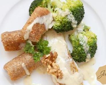 Fischfilet mit Limetten-Honig-Senf-Sauce und Haselnusskroketten