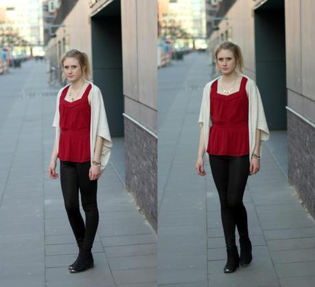 OUTFIT I RED BLACK AND BEIGE