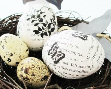 Papier-Eier mit Stempeldruck zu Ostern