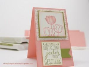 Grußkarte mit Tulpenstempel von Stampin Up
