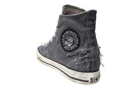 #Converse Schuhe All Star Chucks 100733 Schwarz Weiss Hey Ho Ramones Design