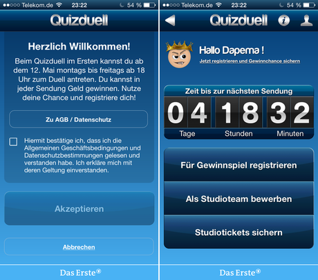 Anmelde-Bildschirm Quizduell TV-Version iOS-Version