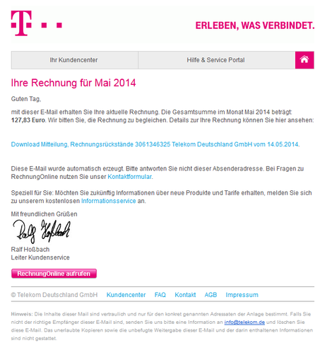 achtung spam in der inbox falsche rechnungen per e mail von telekom und vodafone. Black Bedroom Furniture Sets. Home Design Ideas