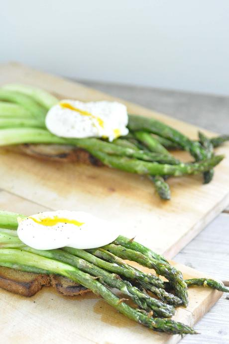 green asparagus on sour dough bread with poached egg. Black Bedroom Furniture Sets. Home Design Ideas