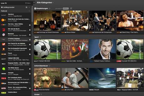 TV- und Radio-Streaming-Dienst Zattoo - Desktop-Version (Screenshot)