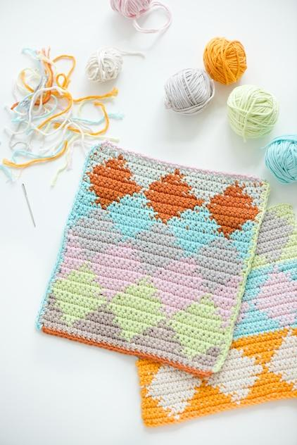 Harlequin Tapestry Crochet dishcloths tutorial