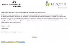 Online-Befragung zum Thema Nachhaltigkeit im Crowdfunding