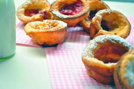 Pop Over Muffins mit Himbeeren