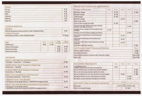 Msc Divina Spa Price List