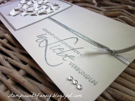 Edle Hochzeitskarte In Silber Weiss