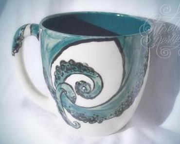 Keramik bemalen mit Tentakel