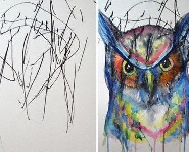 Mutter vollendet die Zeichnungen ihrer 2-jährigen Tochter