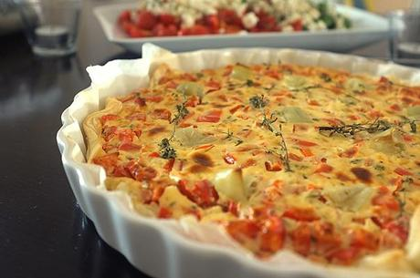 paprika quiche mit feta. Black Bedroom Furniture Sets. Home Design Ideas