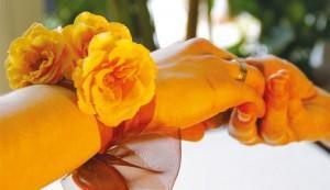 Floraler Armreifstrauß für Brautjungfern