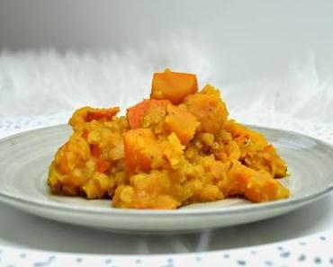 Kürbis rote Linsen Curry