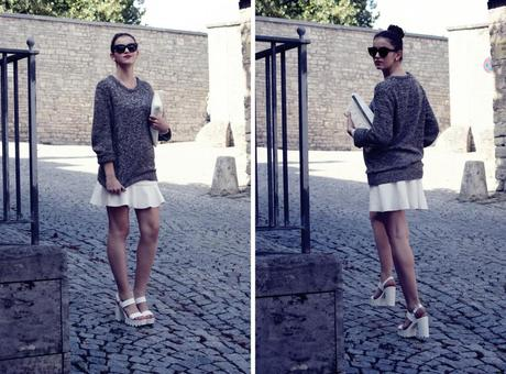 mini skirt zara sweater sandals asos outfit 1