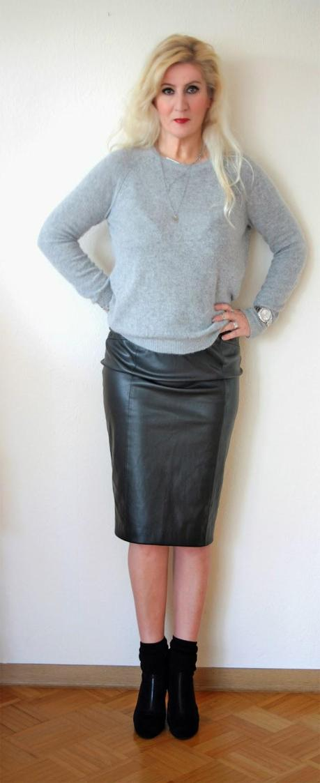 Black leather and grey soft angora wool
