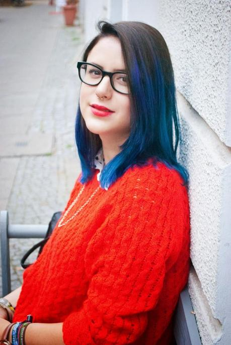 Outfit: RED sweater and BLUE hair!