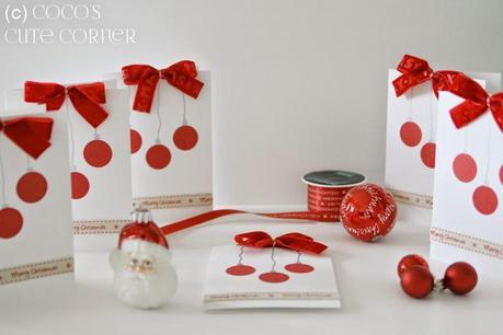 weihnachtskarten 2014 mit schleifen und kugeln. Black Bedroom Furniture Sets. Home Design Ideas