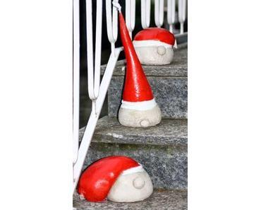 Weihnachtsmannköpfe aus Beton