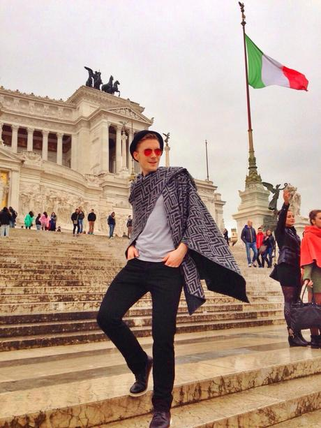 With my poncho in Rome 1