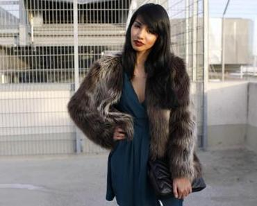 Petrol Dress & Fake Fur