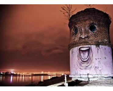 Street Artist Nikita Nomerz verpasst alten Gebäuden ein Facelifting