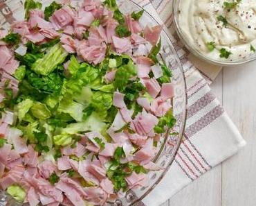 Party-Schichtsalat mit Curry-Mayonnaise