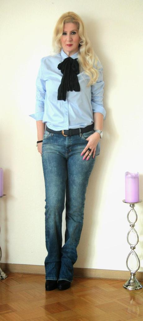 A blue casual office outfit