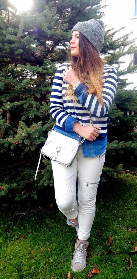 Outfit: Blue Stripes & Silver Details