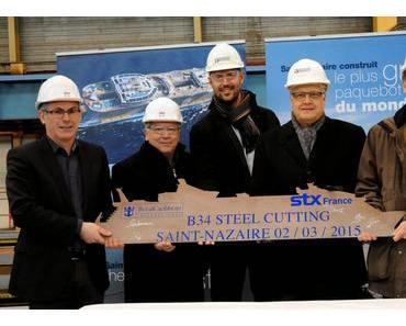 Die Kreuzfahrtmarke Royal Caribbean International hat heute den Stahlschnitt des vierten Schiffes der Oasis-Klasse gefeiert.