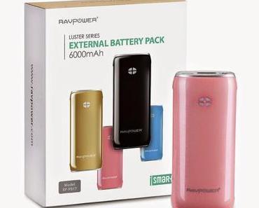 Produkttest:  RAVPower®Luster 6000mAh Externer Akku Pack Zusatzakku Power Bank USB Ladegerät Taschenlampe für Smartphones und Tablets, rosa