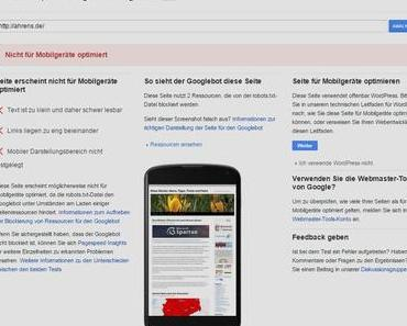 Test von ahrens.de mit Mobil-Theme WordPress Mobile Pack