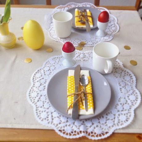 Fruhlingshafte Tischdeko