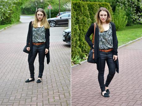 Outfit Coated Pants Black Schwarz