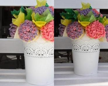 Blumenstrauß mit Cupcakes