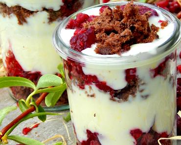 Vanille-Schokocrumble Dessert mit Himbeeren