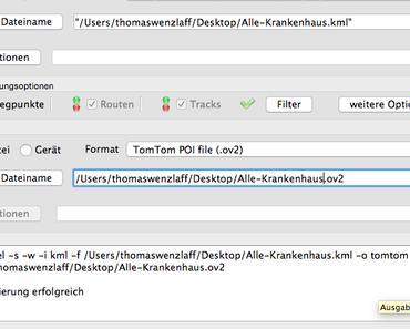 GPSBabel: Wie kann eine mit Google Earth erstellte KML Datei mit Wegepunkten (POI) in ein Navi von TomTom (ov2) importiert werden (KML to ov2)?